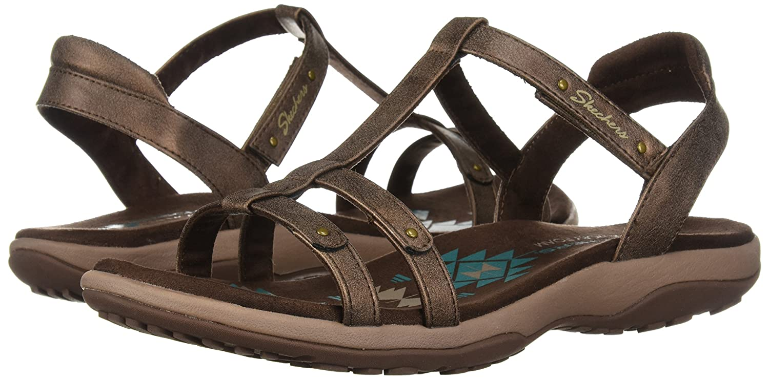 a86cc4ee6894 Amazon.com  Skechers Women s Reggae Slim-Petals-T-Band Quarter Strap  Sandal  Shoes