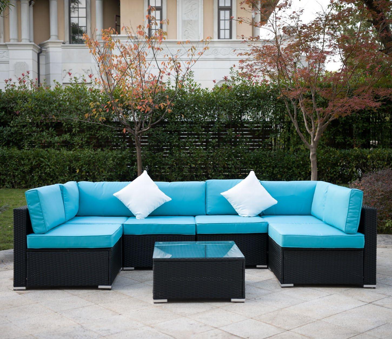 MeiYi Outdoor Rattan Patio Garden Furniture PE Wicker Sofa w/Grey  Cushions,Blue Cushion Covers are for Free(Black,9pcs)