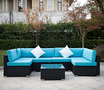 Outdoor Rattan Patio Garden Furniture PE Wicker Sofa w/Grey Cushions,Blue  Cushion Covers - Amazon.com : Outdoor Rattan Patio Garden Furniture PE Wicker Sofa W