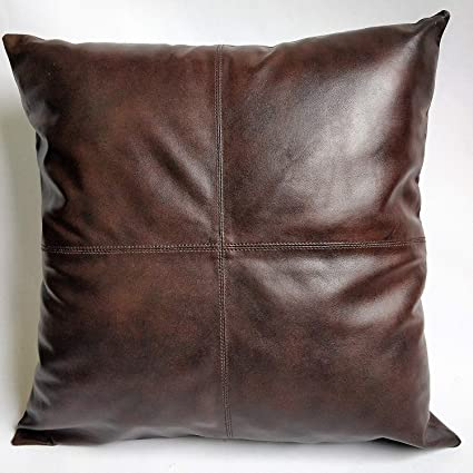 DOLLY LAMB 100% Lambskin Leather Pillow Cover - Sofa Cushion Case -  Decorative Throw Covers for Living Room & Bedroom - Dark Brown - 20x20  Inches
