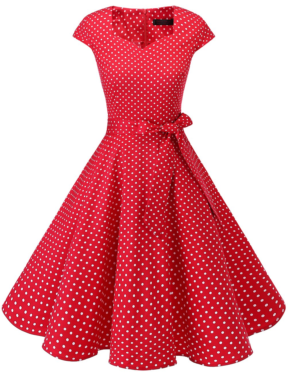 DRESSTELLS Retro 1950s Cocktail Dresses Vintage Swing Dress with Cap-Sleeves Red Small White Dot L by DRESSTELLS