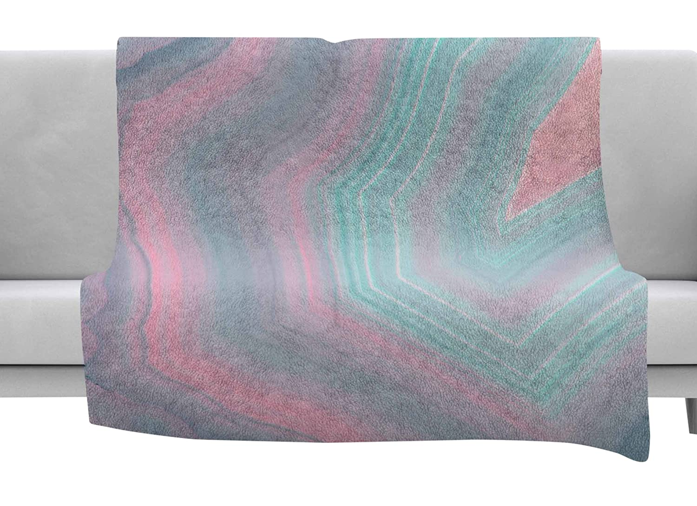 Kess InHouse Cafelab Sweet Pastel Agate Pink Blue Throw 80 x 60 Fleece Blanket