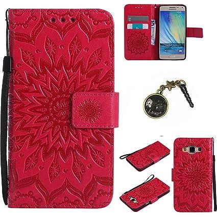für Smartphone Samsung Galaxy A5 (2015) Hülle,Echt Leder Tasche für Samsung Galaxy A5 (2015) Flip Cover Handyhülle Bookstyle