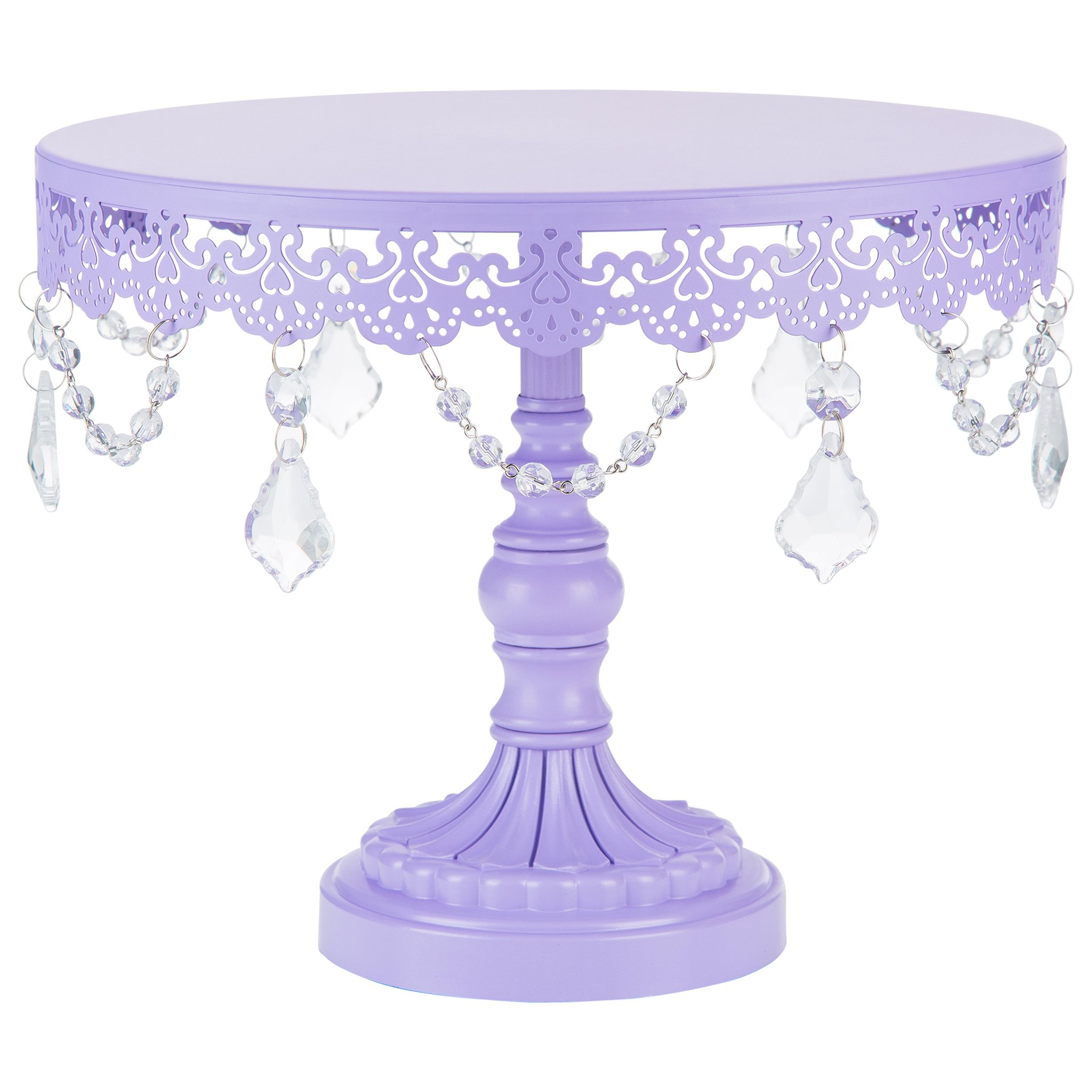 ''Sophia Collection'' Metal Cake Dessert Stand with Crystal Beads and Dangles, 10'' Diameter Plate (Lavender)