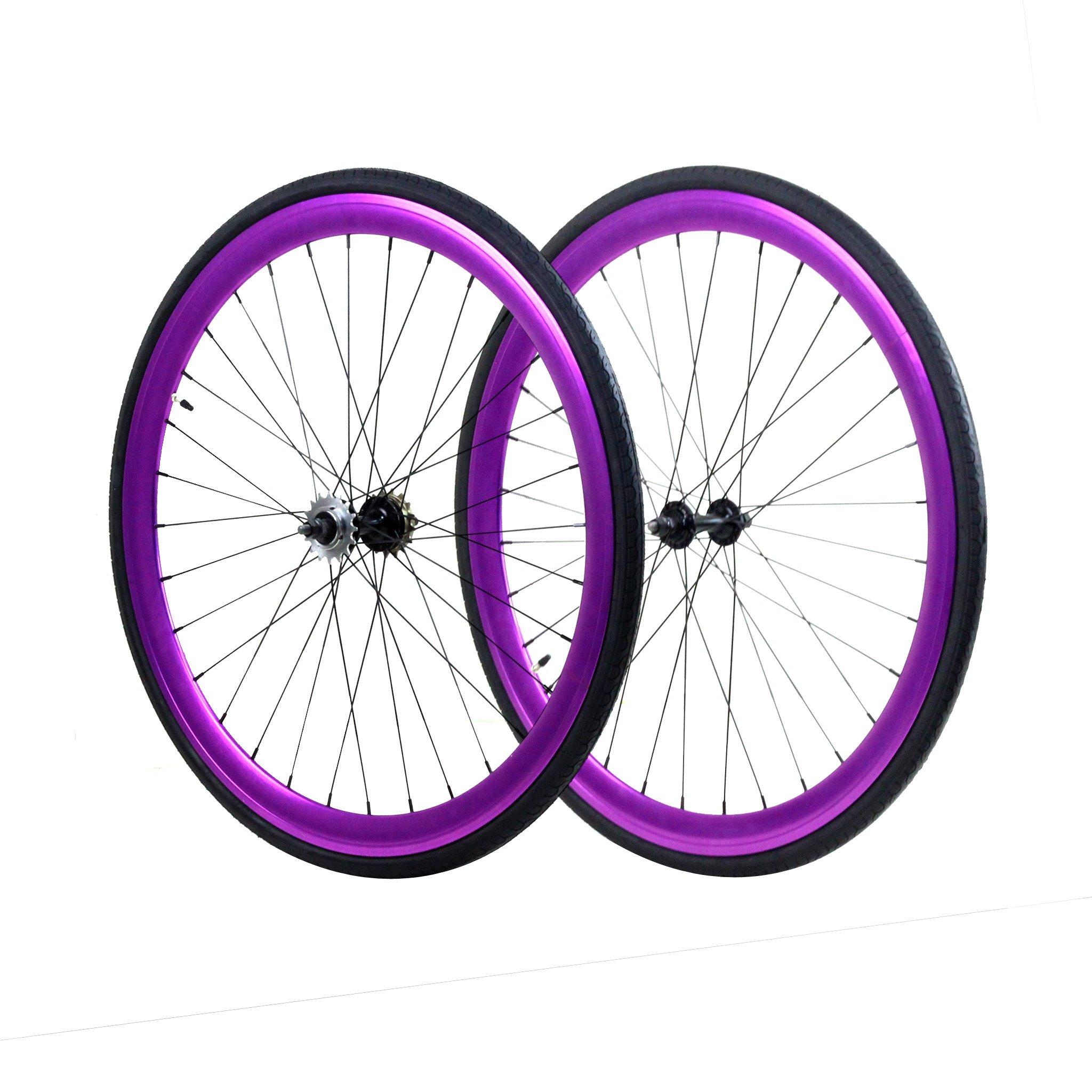 Fixie Wheels Set, Front and Fixed Gear Flip-Flop Rear, Purple