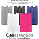 Cell Phone Wallet with Stand by Cellessentials: (For Credit Card & Id) iPhone, Android & Most Smartphones | 5 Pc Pack - Grey, White, Black, Pink & Navy