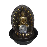 Chico Cascading Buddha Indoor Table Top Water Feature + Spinning Ball & LED Lighting
