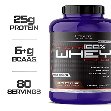 Ultimate Nutrition Prostar 100 Whey Protein Powder – Low Carb, Low Fat, Lose Weight, Build Muscle with 25g of Protein and 6g BCAAs for Optimum Muscle Recovery, Chocolate Cr me, 5.28 Pounds