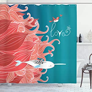 """Ambesonne Narwhal Shower Curtain, Love Themed Sketch Illustration with Arctic Whale Bird and Floral Arrangement, Cloth Fabric Bathroom Decor Set with Hooks, 70"""" Long, Teal Coral"""