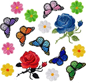 Budicool Flowers Butterfly Iron on Patches Embroidery Applique Patches for Clothes Jeans (Pack of 16 Pieces)