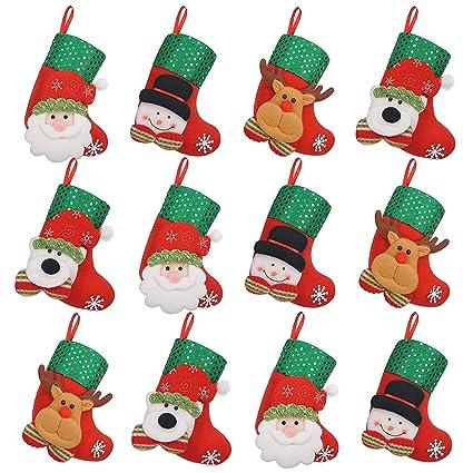 iZoeL 12 pequeño de Calcetines de Navidad Botas de Navidad para Rellenar Colgar Botas de Navidad