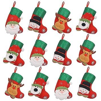 iZoeL 12 pequeño de Calcetines de Navidad Botas de Navidad para Rellenar Colgar Botas de Navidad Navidad Decoración Cubiertos Árbol de Navidad Joyas Mesa ...