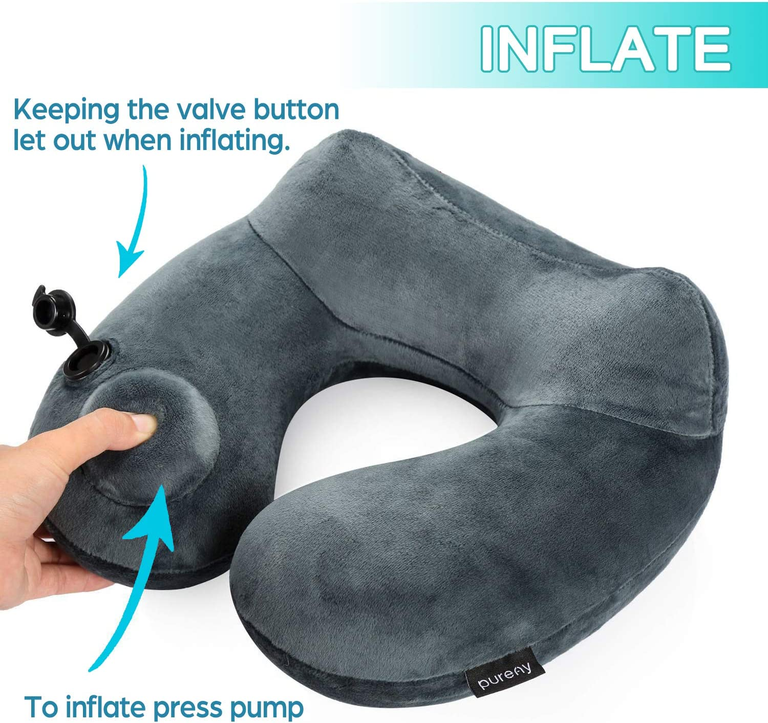 Inflatable Travel Pillow Soft Velvet Neck Support Pillows for Airplanes Car and Home Washable Cover with Portable Packsack