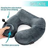 Purefly Inflatable Travel Pillow Soft Velvet Neck