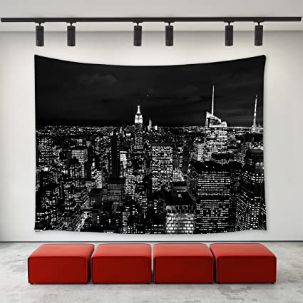 LBKT Black And White New York City Skyline At Night Tapestry Wall Hanging For Bedroom Living