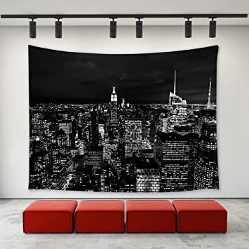 LBKT Black and White New York City Skyline at Night Tapestry Wall Hanging  for Bedroom Living Room College Dorm Custom Home Decoration Wall Decor Art  ...