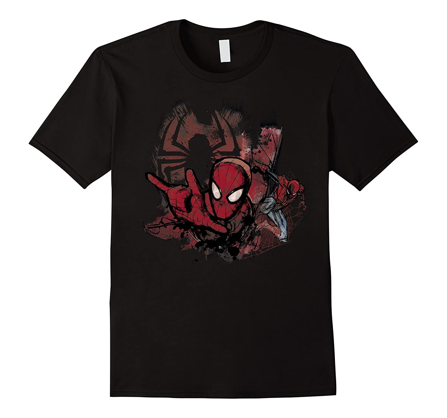 Marvel Spider-Man Paint Brush Mural Graphic T-Shirt-TD