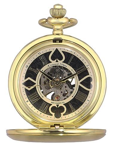 KS Reloj de Bolsillo Hombre con Cadena antiguos Steampunk Esqueleto Mecánico con Caja de Regalo KSP081: Amazon.es: Relojes