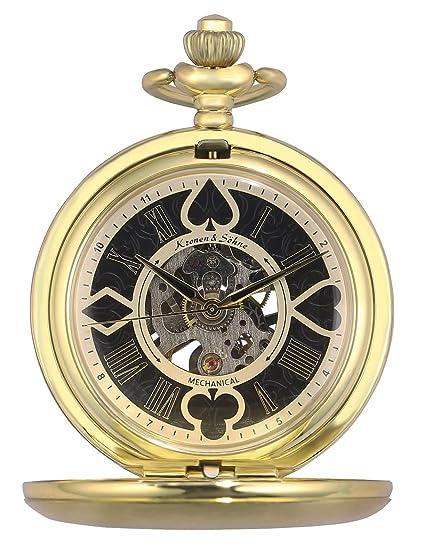 KS Reloj de Bolsillo Hombre con Cadena antiguos Steampunk Esqueleto Mecánico con Caja de Regalo KSP081