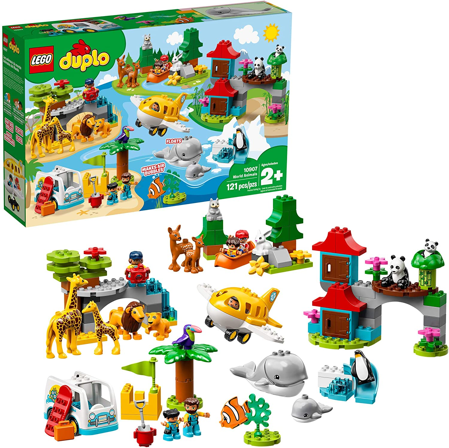 LEGO DUPLO Town World Animals 10907 Building Bricks, Toy Animal Set for Toddlers includes Whales, Lions, Pandas, Giraffes and other Wild Animals (121 Pieces)
