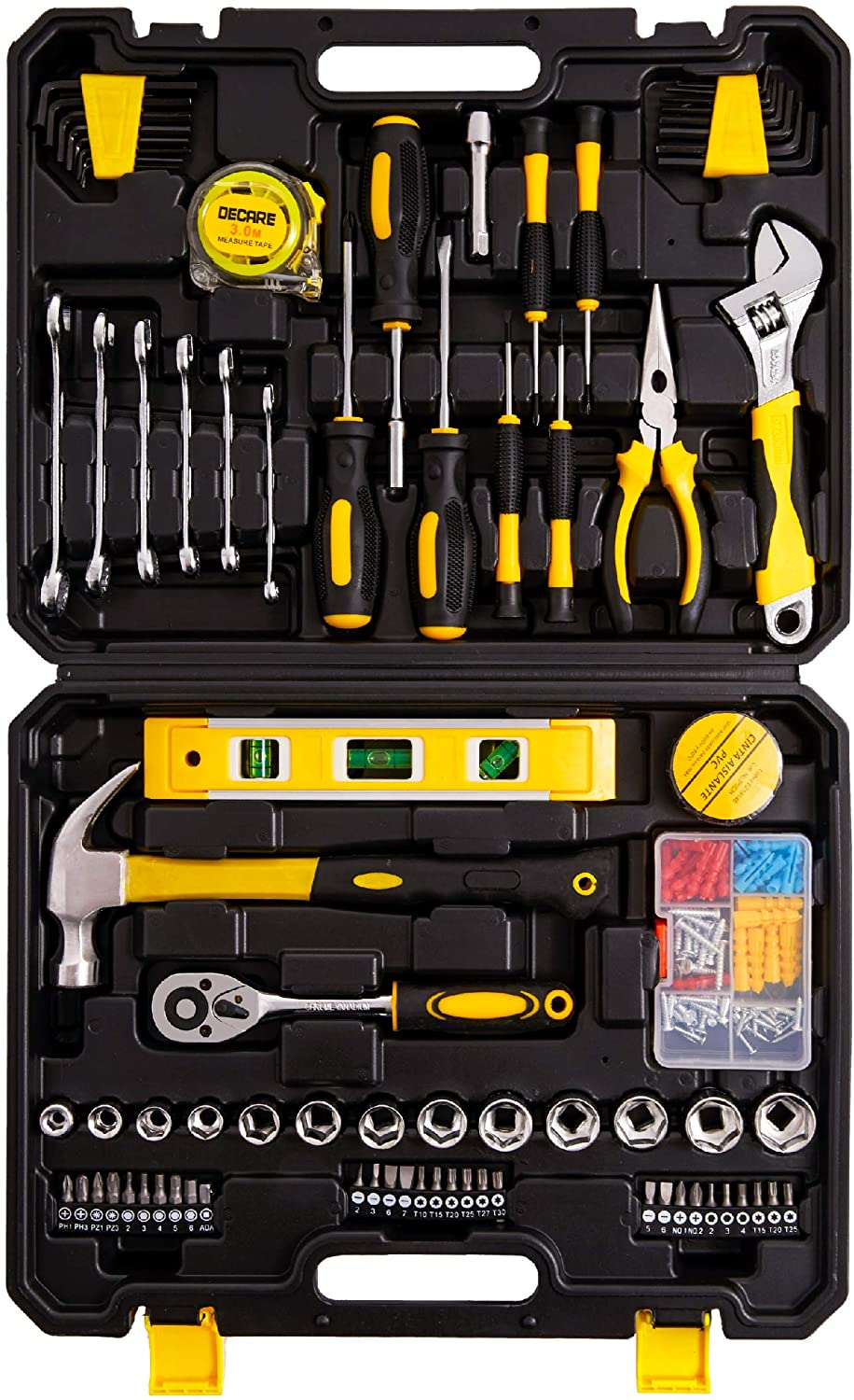 Tool Kit Tool Set 128 Pieces - Metric Household Hand Tool Kit, Auto Repair Tool Set, with Portable Toolbox DeCare (Yellow-)