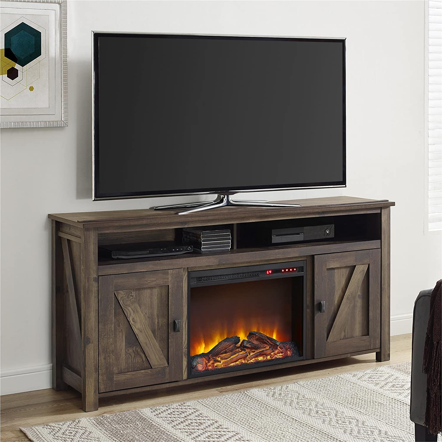 Amazon.com: Ameriwood Home Farmington Electric Fireplace TV ...