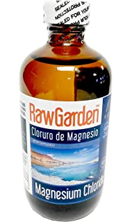 Raw Garden Magnesium Chloride Liquid 8 oz. Cloruro de Magnesio. Glass bottle.