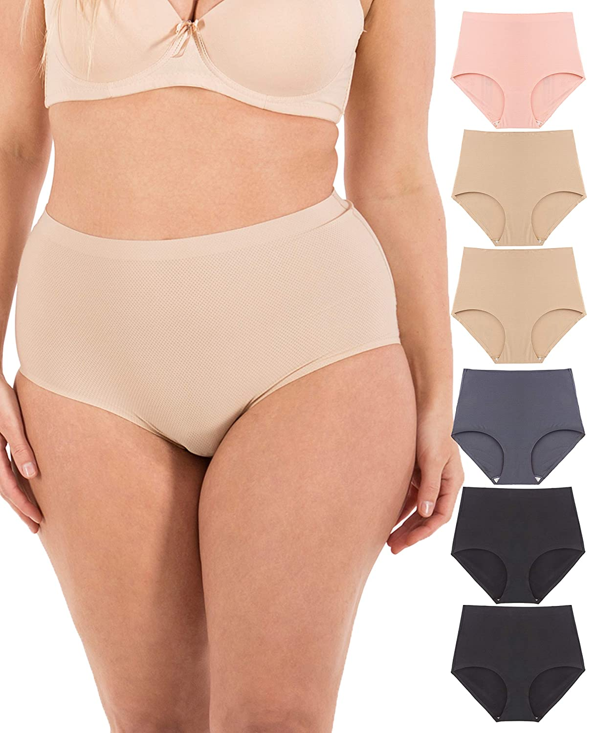 a8f56fc86a Underwear Women - Seamless No-Show Womens Underwear Small to Plus Size 6  Panties at Amazon Women's Clothing store:
