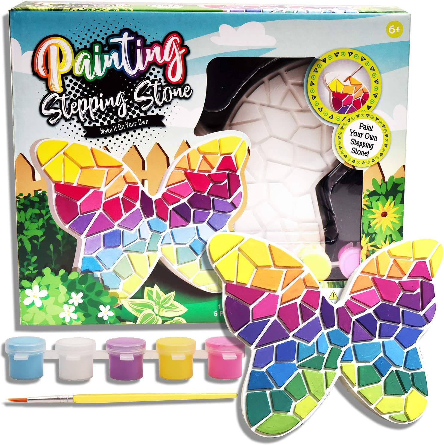 Eduzoo Paint Your Own Stepping Stone - Art and Craft Painting Kit, DIY Garden Stone, Mosaic Rainbow Stepping Stone, Butterfly