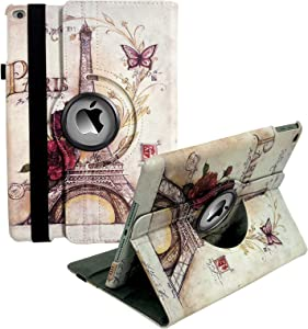 iPad Case Fit 2018/2017 iPad 9.7 6th/5th Generation - 360 Degree Rotating iPad Air Case Cover with Auto Wake/Sleep Compatible with Apple iPad 9.7 Inch 2018/2017 (Eiffel Tower)