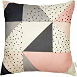 "Fjfz Cotton Linen Home Decorative Throw Pillow Case Cushion Cover for Sofa Couch Modern Geometric Pattern Color Block, Blush Pink Gray Black, 18"" x 18"""