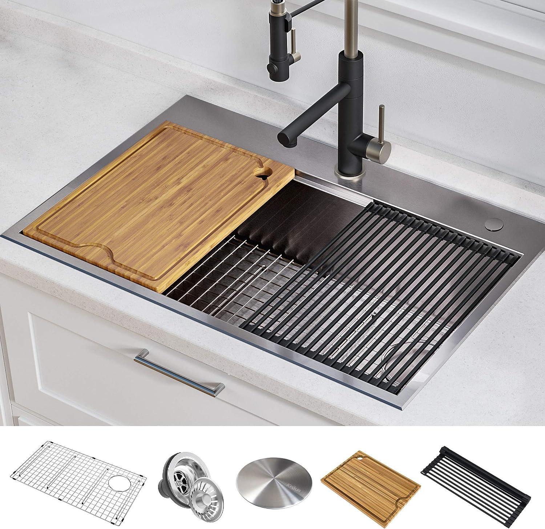 Kraus Kwt310 30 Kore Kitchen Single Bowl 30 Inch 30 Drop In Workstation Sink