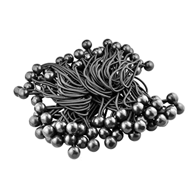 "SE 6"" Black Bungee Stretch Cords with Balls (100 Count) - BC6B-100"