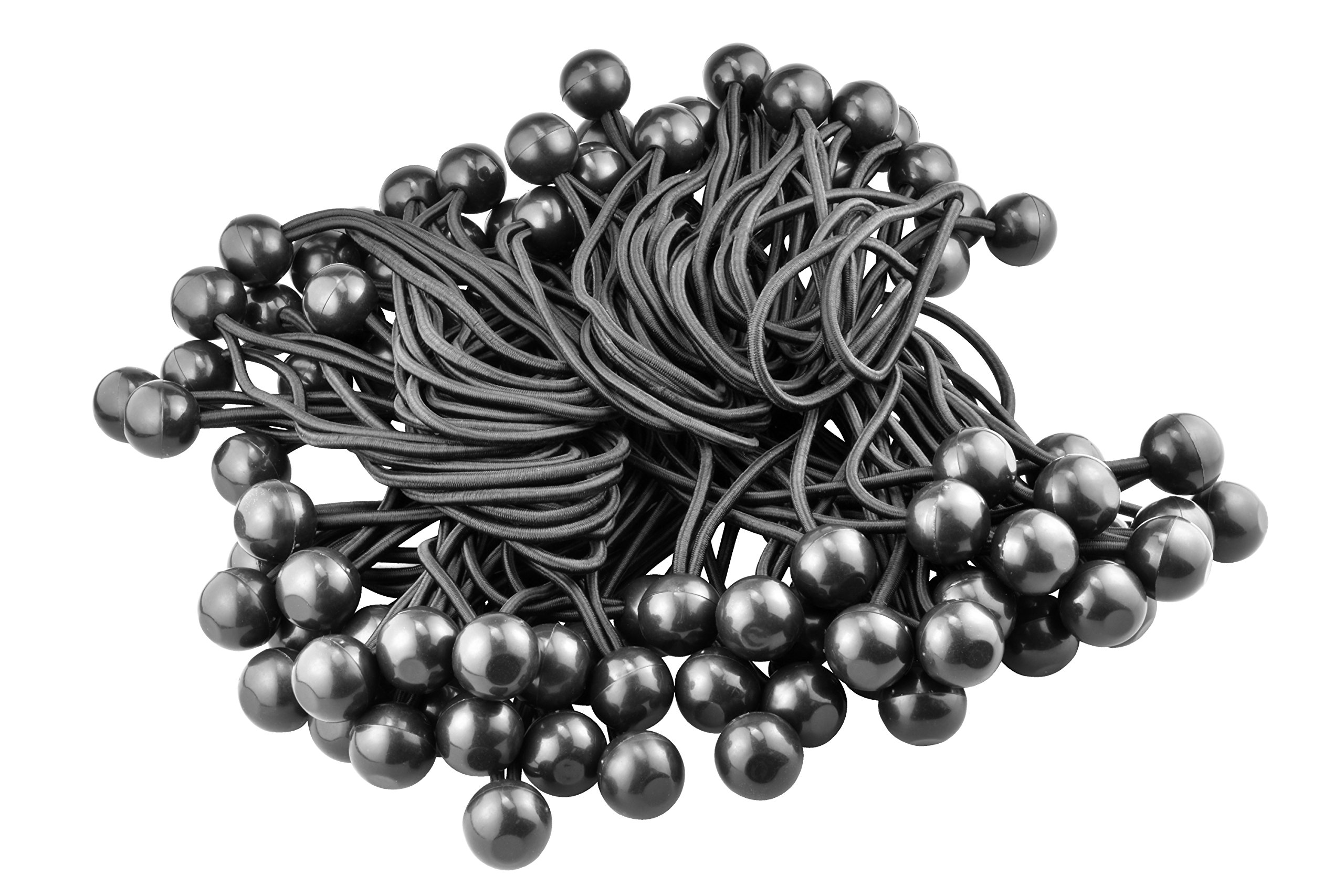 SE 6'' Black Bungee Stretch Cords with Balls (100 Count) by SE
