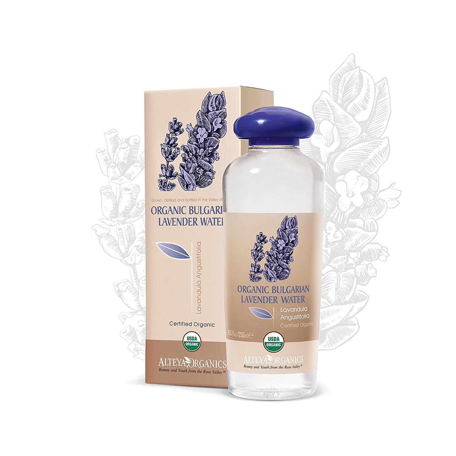 Alteya Organic Lavender Water 250ml - 100% USDA Certified Organic Authentic Pure Natural Flower Water Steam-Distilled and Sold Directly by the Lavender Grower Alteya Organics COBLW
