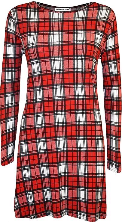 Damen Wasserfall Einstecktuch Saum Bedruckte Full Sleeve Swing Dress 8-22:  Amazon.de: Bekleidung