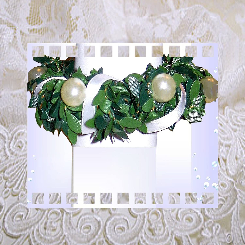 Tropfschutz Kerzenkranz für Taufkerze Kommunionkerze Größe WÄHLBAR 3 bis 10 cm mit Perlen sehr edel IG1 (10cm) ilonas-lichtermeer IG1TropfschPerlen
