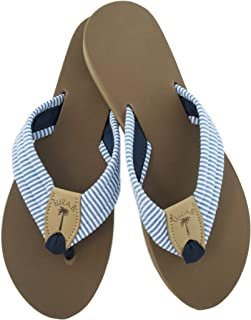 product image for Eliza B Navy Seersucker Sandal with Almond Sole