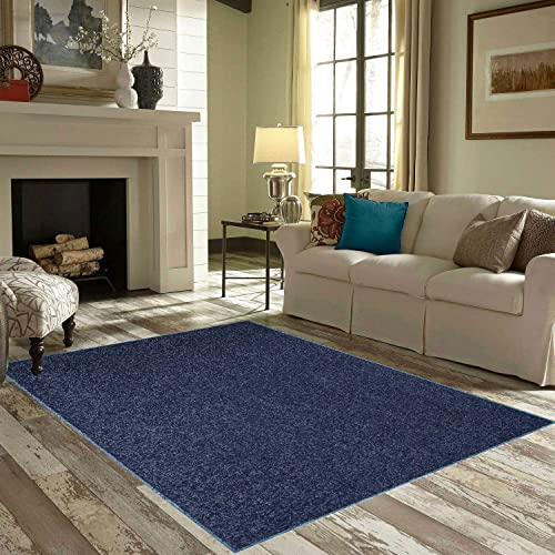 Ambiant Pet Friendly Solid Color Area Rug Petrol Blue -5 x8