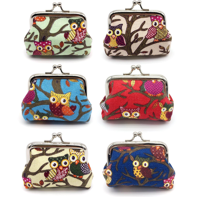 Elesa Miracle 6pc Women Girl Canvas Owl Coin Purse Clutch Pouch Wallet Value Set