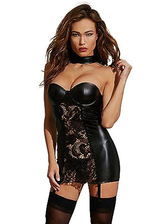 19aaaa34daa Amazon.com  Dreamgirl Women s Faux-Leather and Lace Garter Slip ...