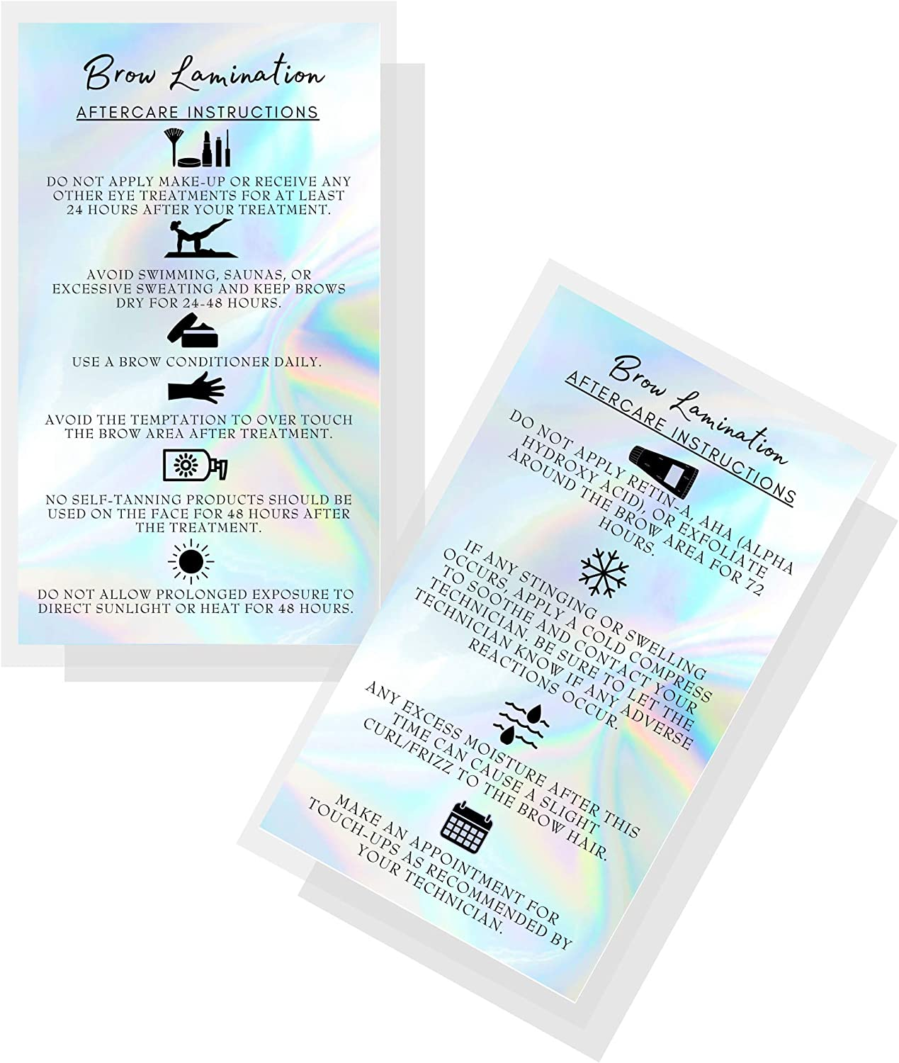 """Brow Lamination Aftercare Instruction Cards 