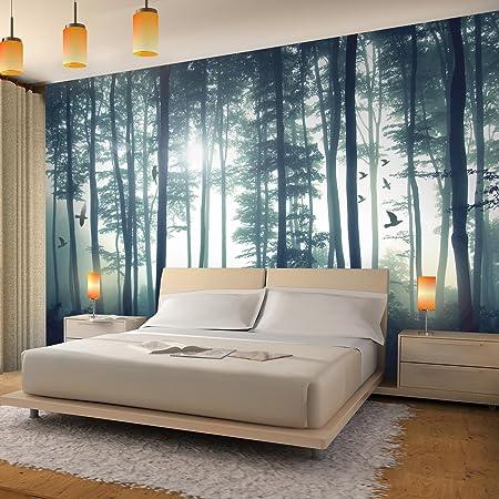 Fototapete Wald 396 x 280 cm - Vlies Wand Tapete Wohnzimmer ...