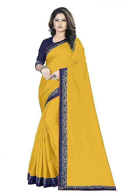 Nilesh Women's Silk Saree With Blouse Pices(Nilesh CT104 Yellow)