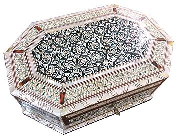 1b4e6f9aecda J71 Magnifique de nacre mosaïque à bijoux octogonale égyptien Coffre Boîte  à bijoux