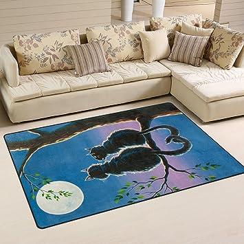 Naanle Alfombra antideslizante para gato, pintura al óleo, para salón, dormitorio, cocina