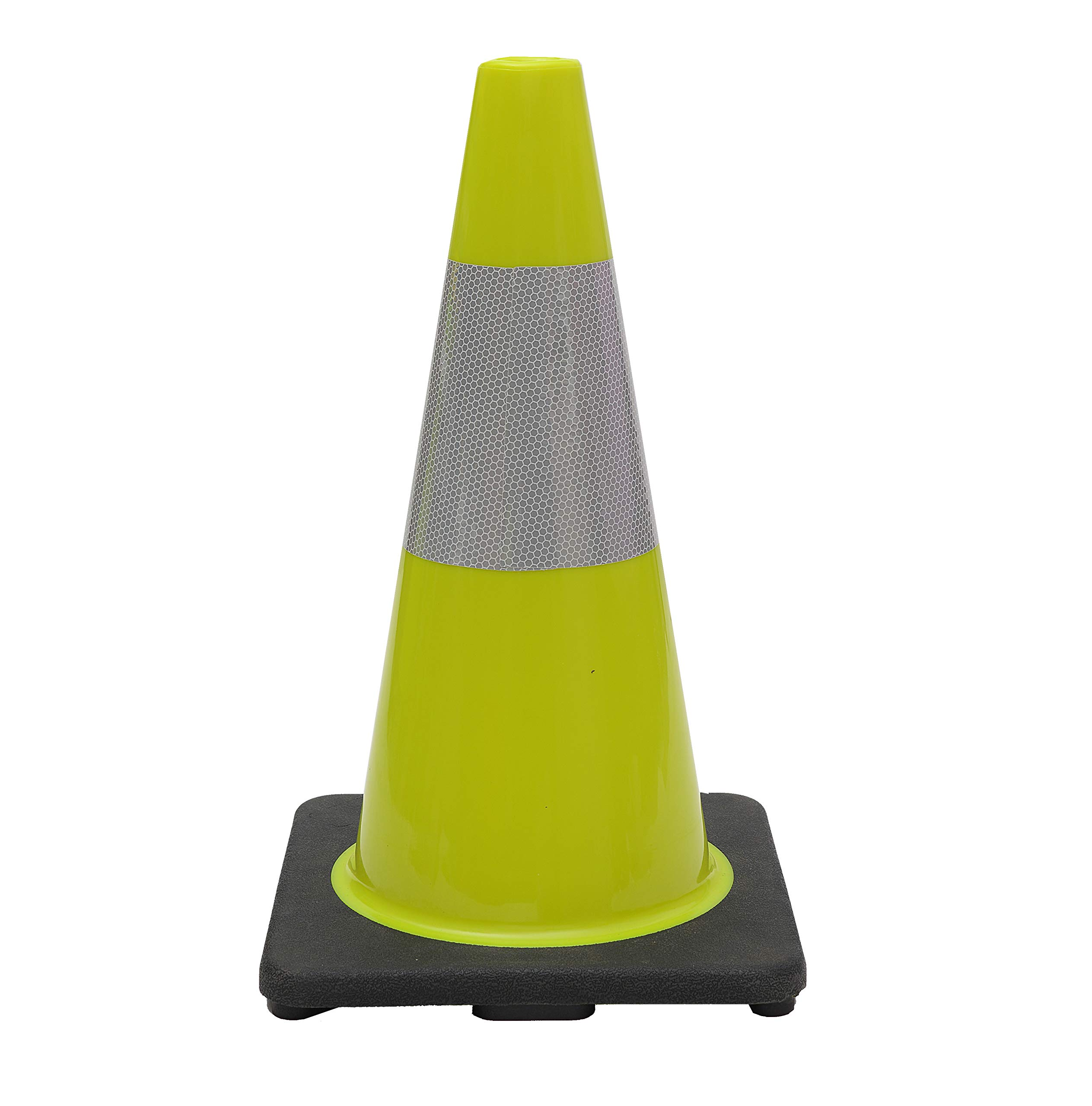 CJ Safety 18'' Black Base Lime Green PVC Traffic Safety Cones with 6' Reflective Collar (6 Cones)