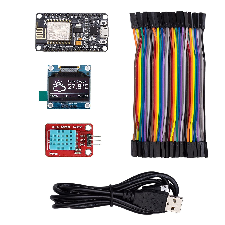 ThingPulse #1 Arduino WiFi ESP8266 Starter Kit for IoT, NodeMCU Wireless,  I2C OLED Display, DHT11 Temperature/Humidity Sensor, Comprehensive Manual