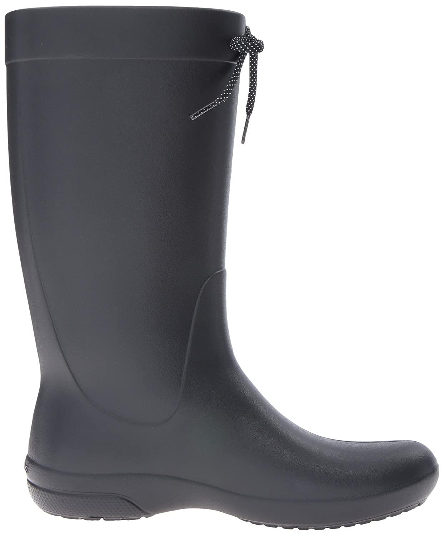 Amazon.com | crocs Women's Freesail Rain Boot, Black, 7 M US | Mid-Calf