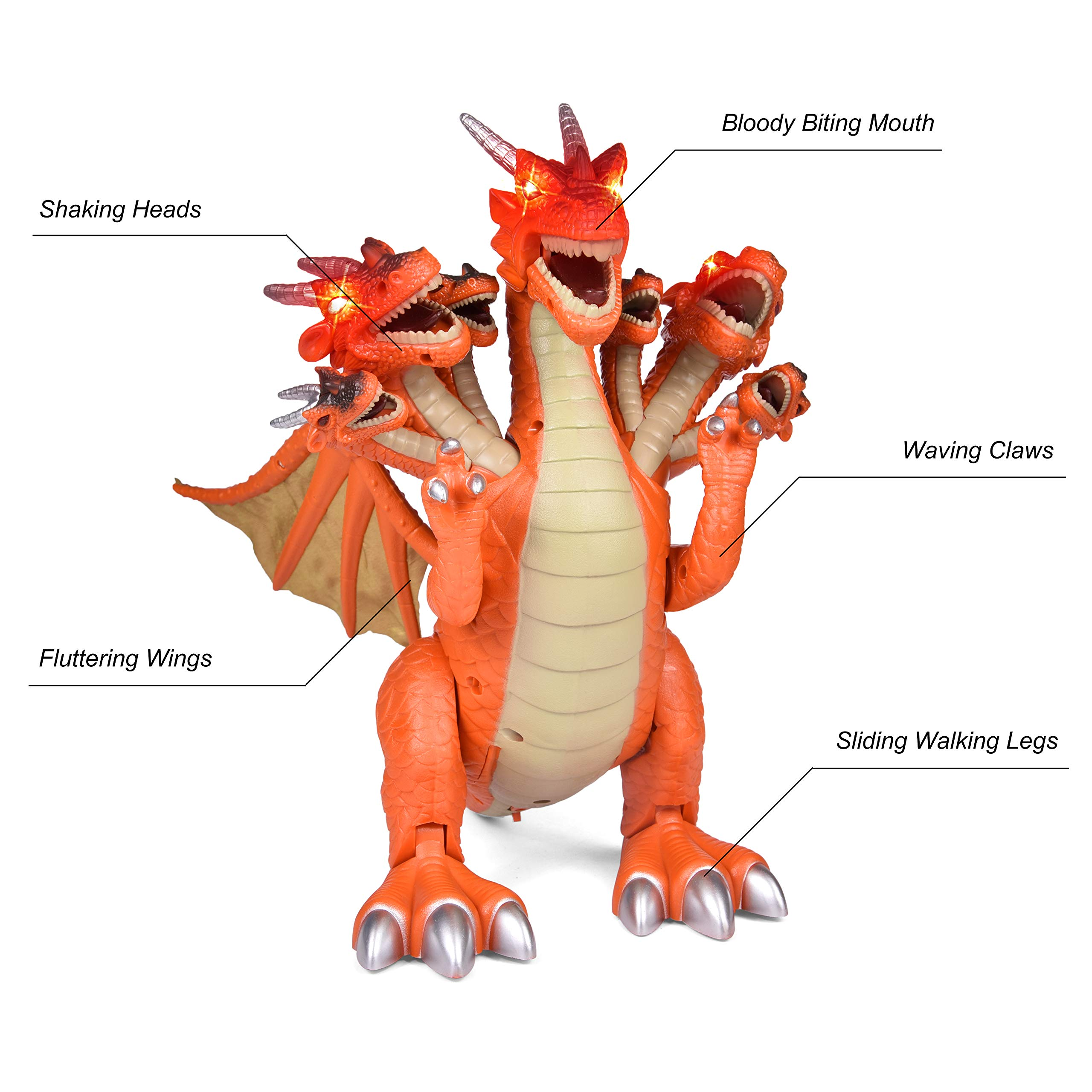 Dragon Toys for Boys, Seven Heads Walking Dragon 11.8''(L)×11.4''(H) Large Size with Lights and Sounds by FUN LITTLE TOYS (Image #2)